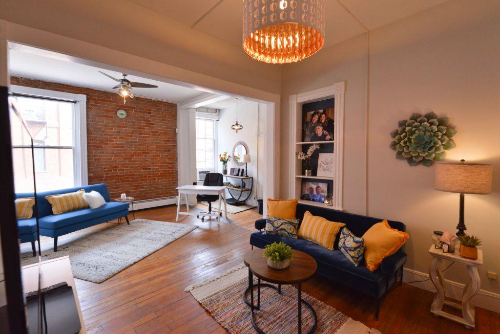 original hard wood floors brick studio